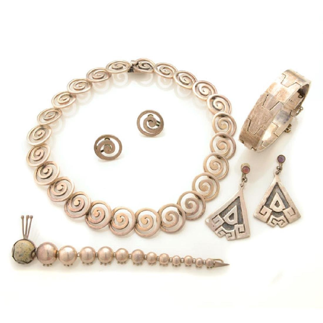 Collection of Mexican Silver Jewelry Items Including