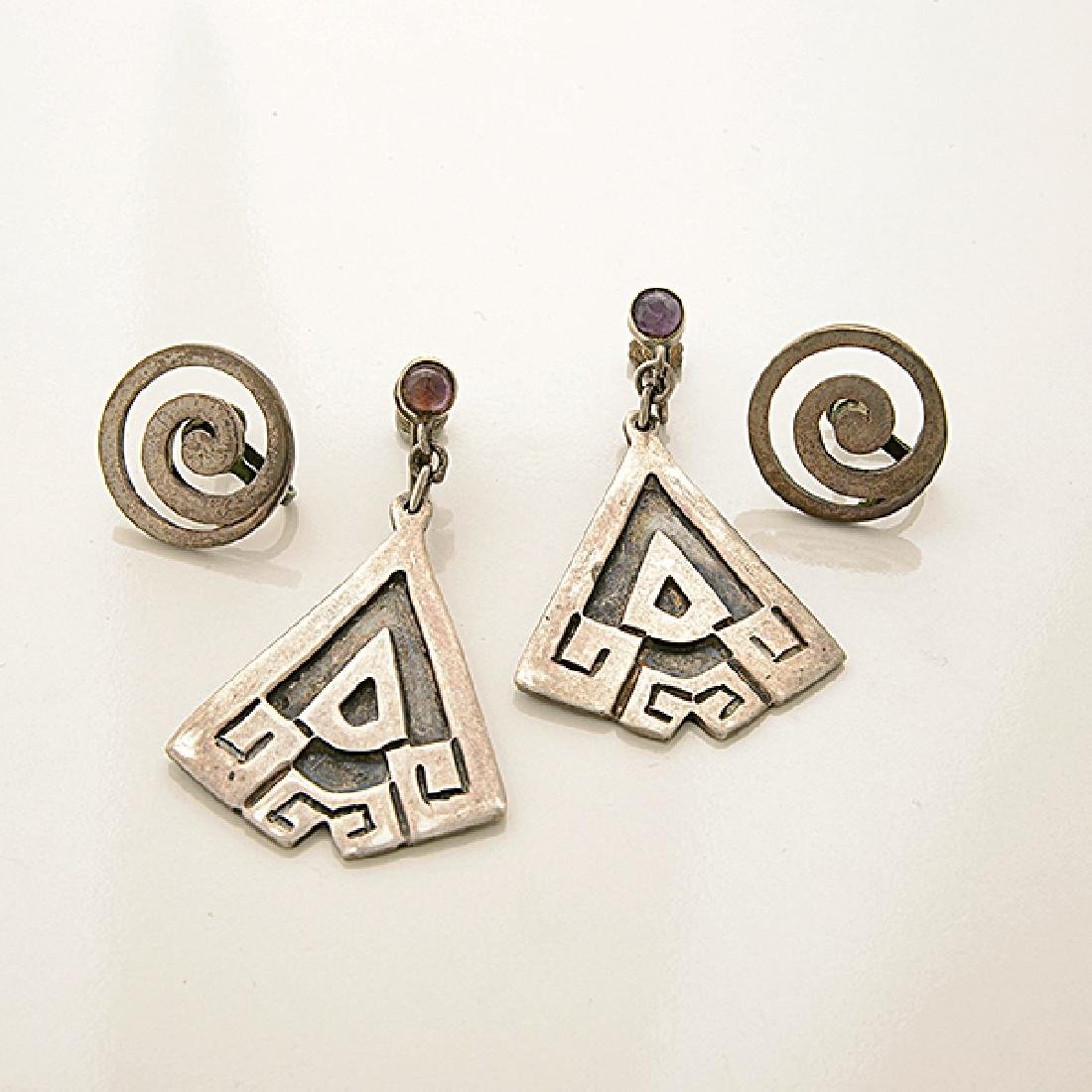 Collection of Mexican Silver Jewelry Items Including - 2