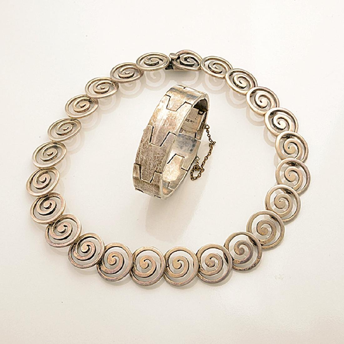 Collection of Mexican Silver Jewelry Items Including - 3