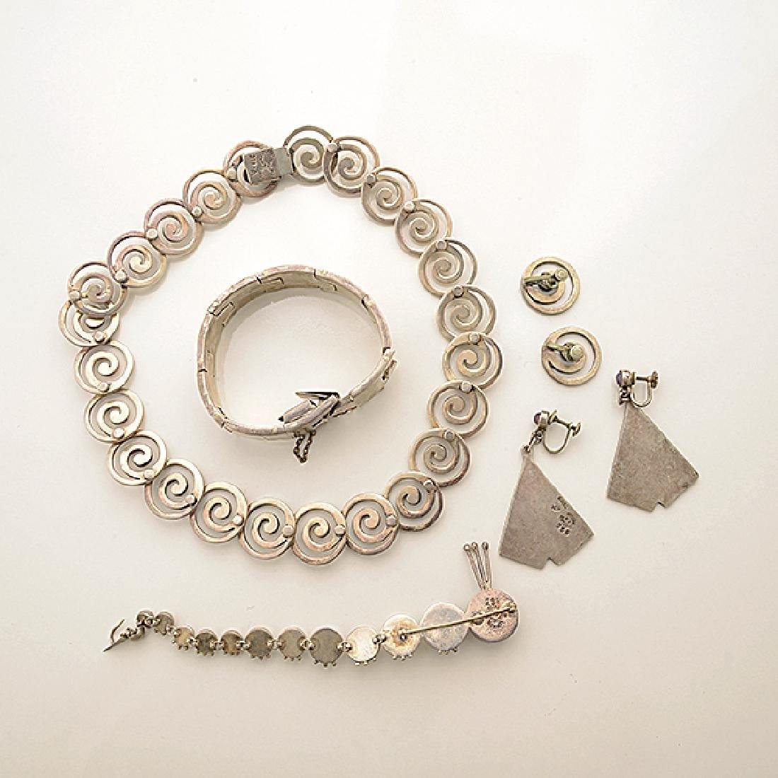 Collection of Mexican Silver Jewelry Items Including - 5