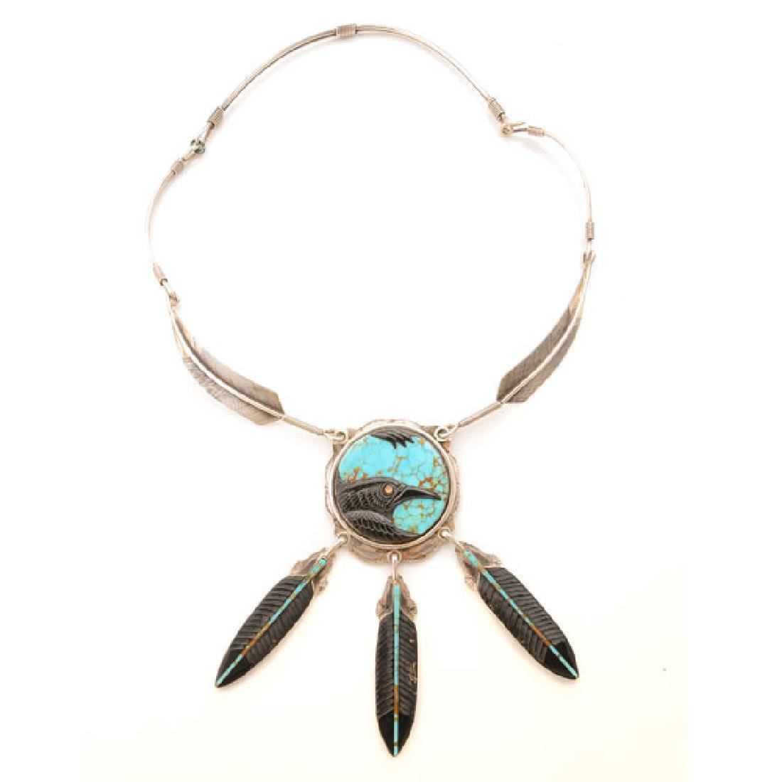 Native American Jet, Turquoise, Fire Opal, Sterling