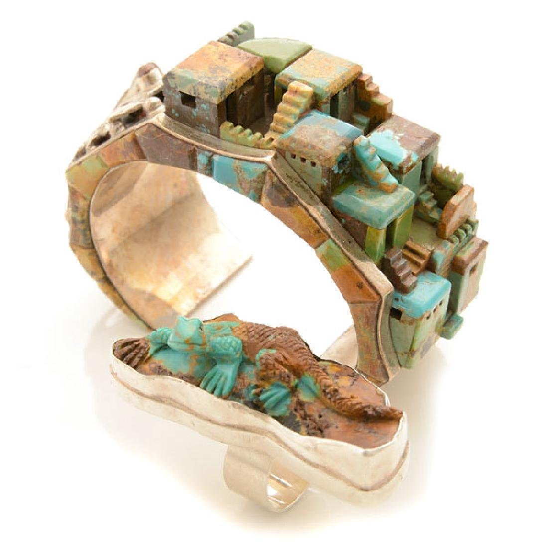 Native American Carved Turquoise, Sterling Silver