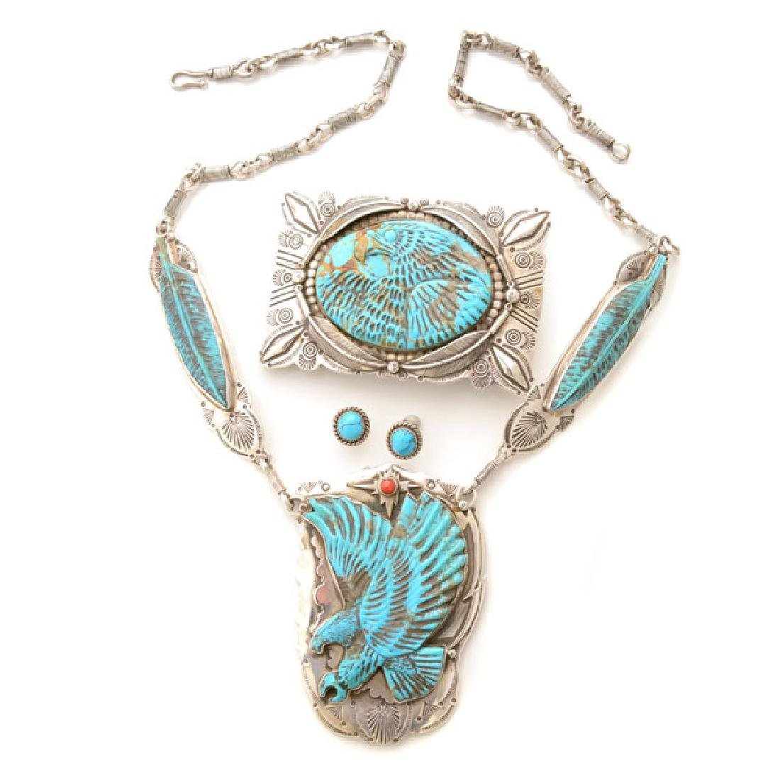*Native American Turquoise, Coral, Sterling Silver