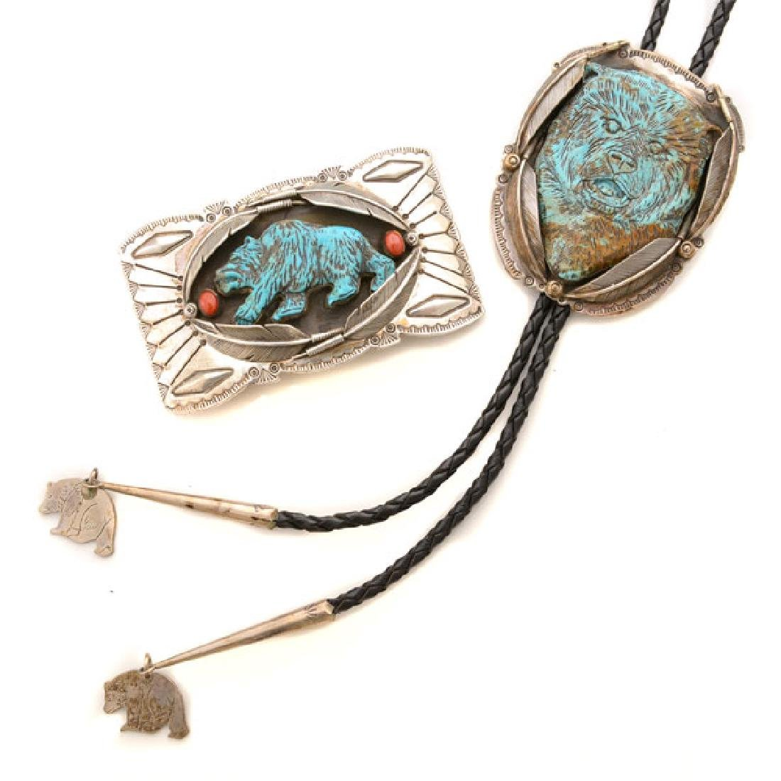 *Native American Turquoise, Coral, Sterling Silver Bear