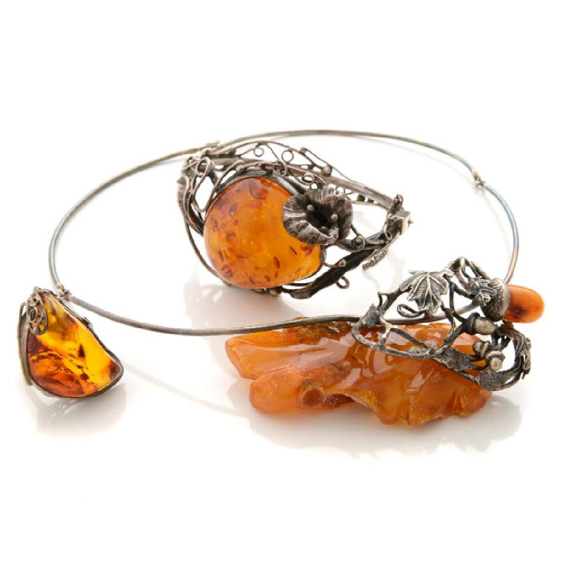 Amber, Silver Jewelry Suite.