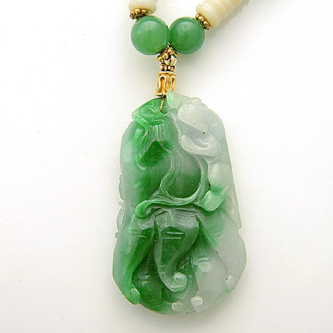 Jade, Quench Crackled Quartz, Vermeil Necklace. - 2