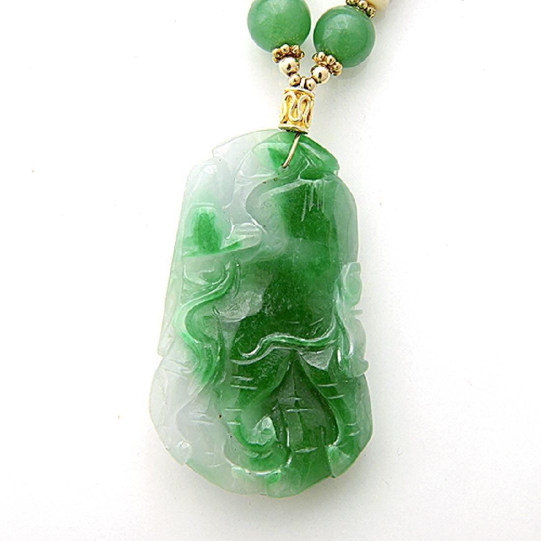 Jade, Quench Crackled Quartz, Vermeil Necklace. - 3