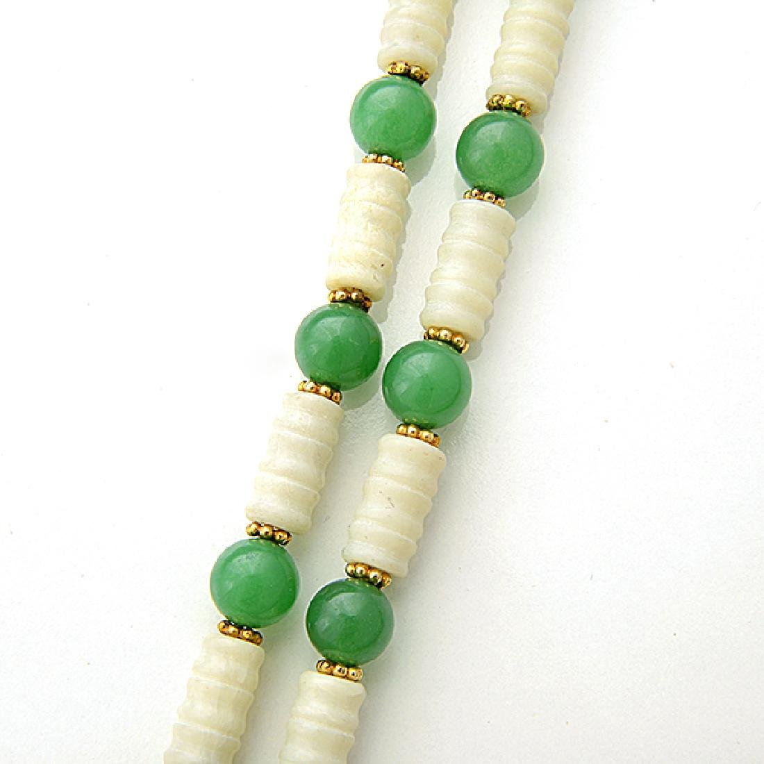 Jade, Quench Crackled Quartz, Vermeil Necklace. - 4