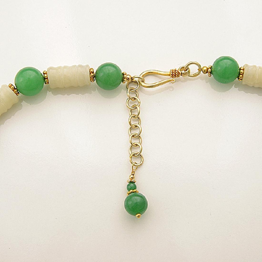Jade, Quench Crackled Quartz, Vermeil Necklace. - 5