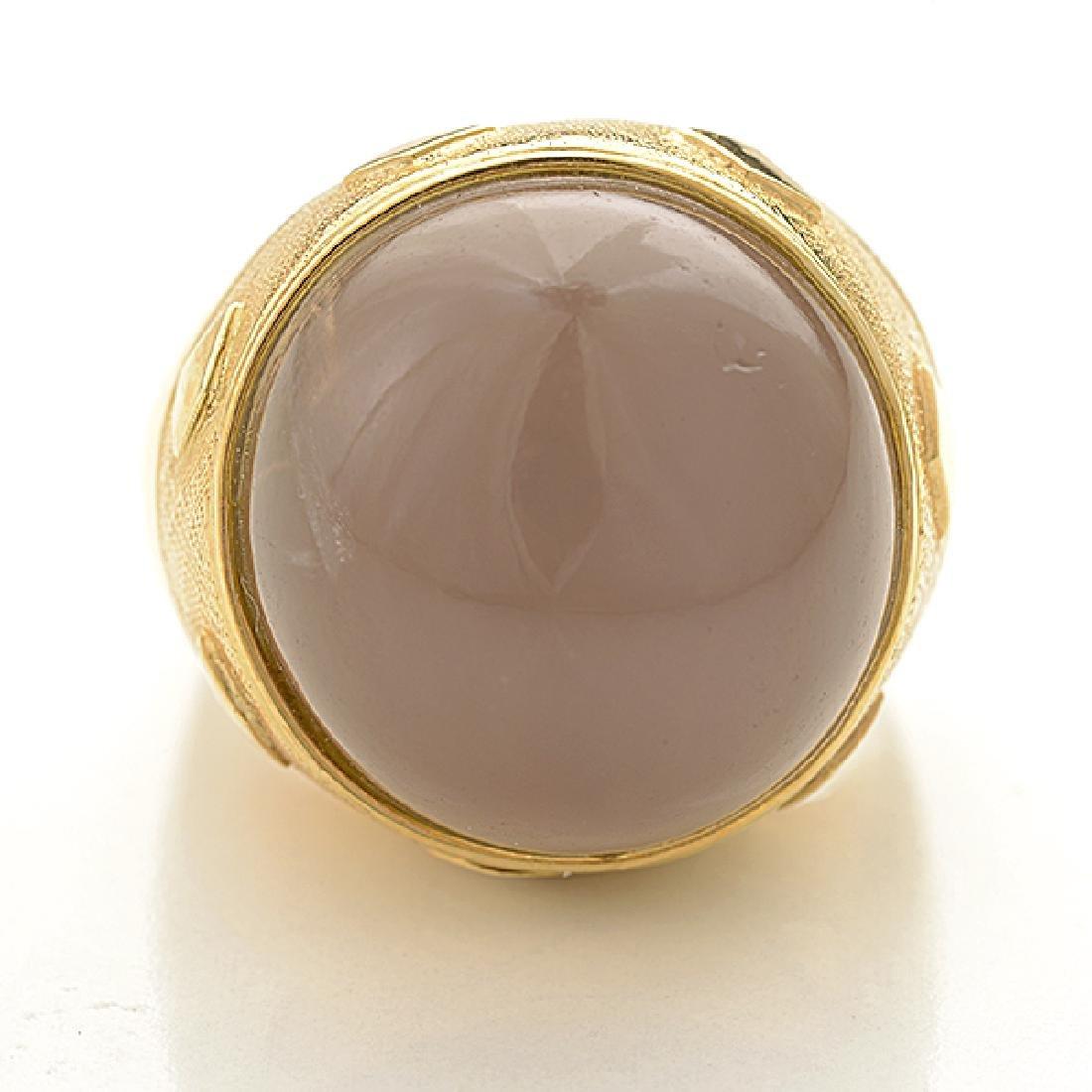 Moonstone, 18k Yellow Gold Ring. - 2
