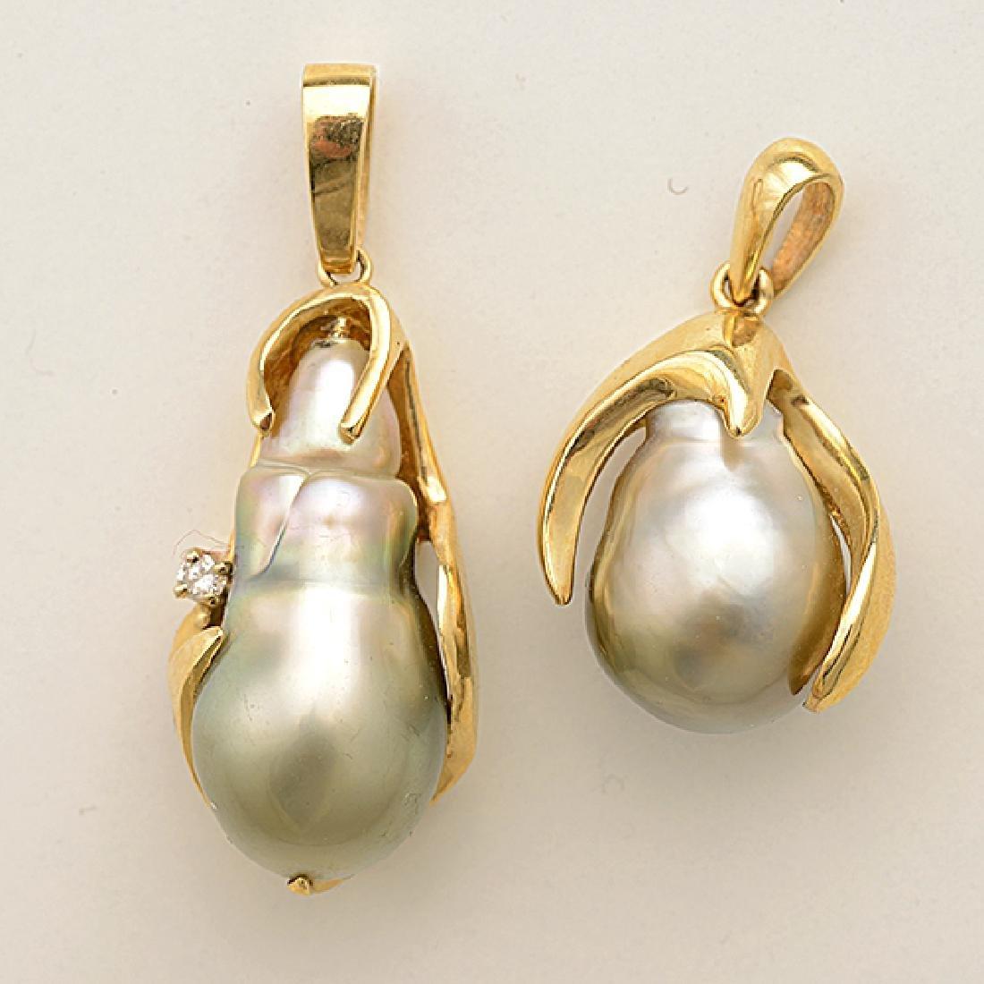 Baroque Cultured Pearl, Diamond, 14k Yellow Gold - 2
