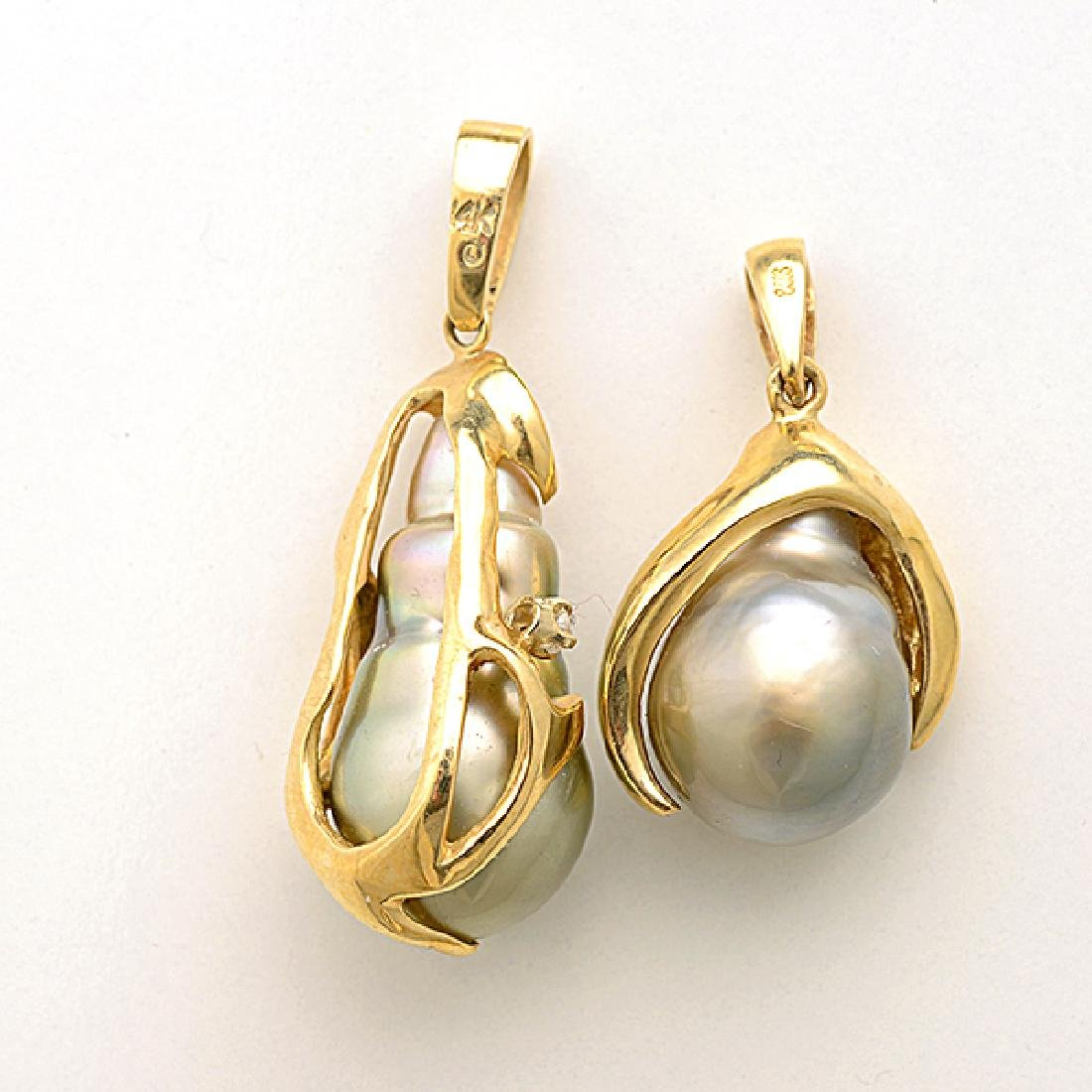 Baroque Cultured Pearl, Diamond, 14k Yellow Gold - 4