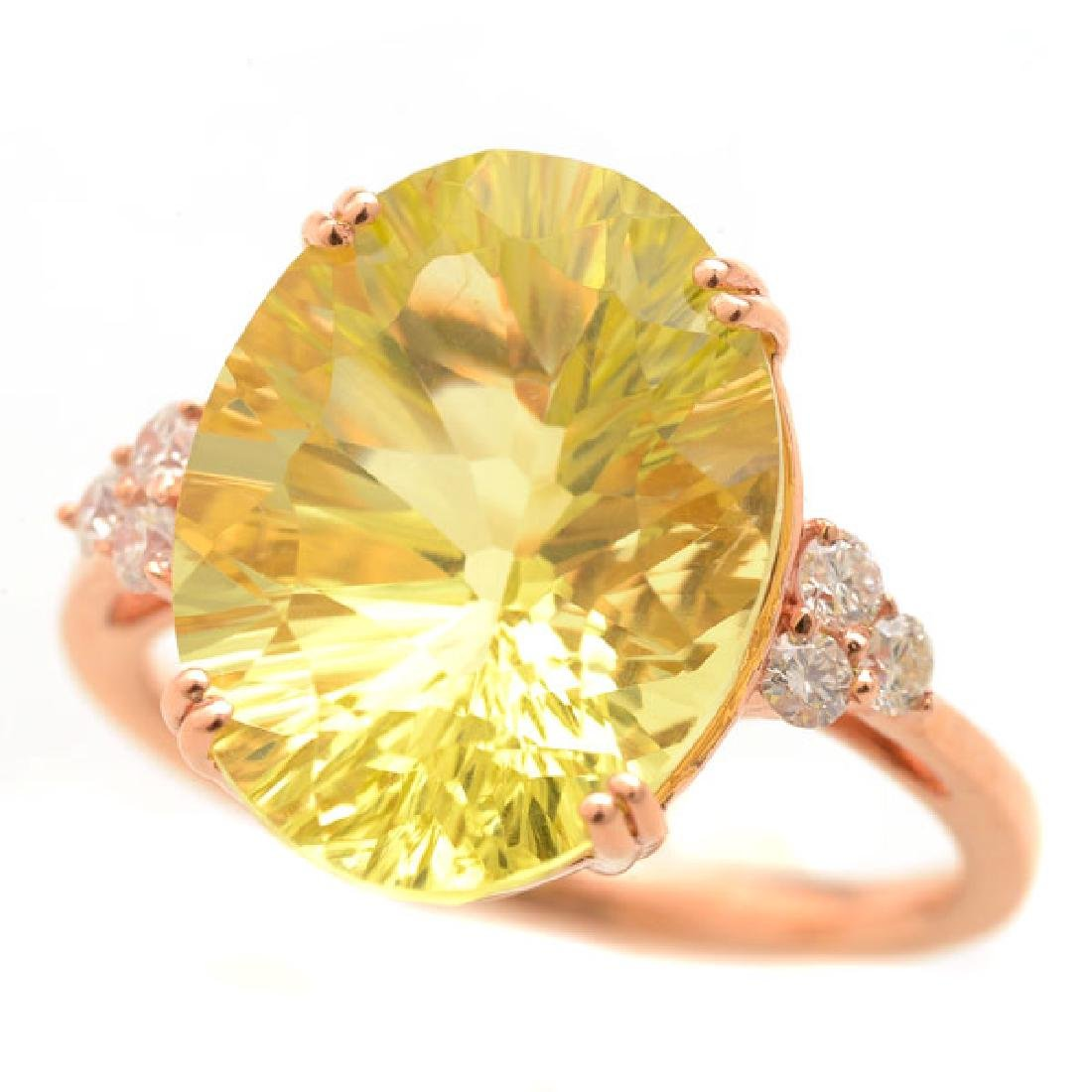 Lemon Quartz, Diamond, 14k Rose Gold Ring.