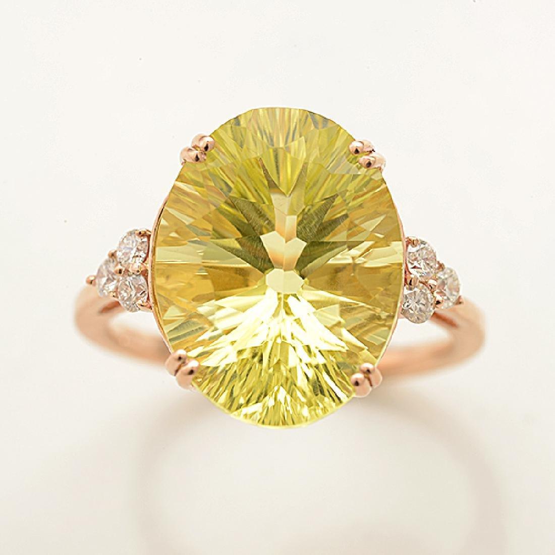 Lemon Quartz, Diamond, 14k Rose Gold Ring. - 2