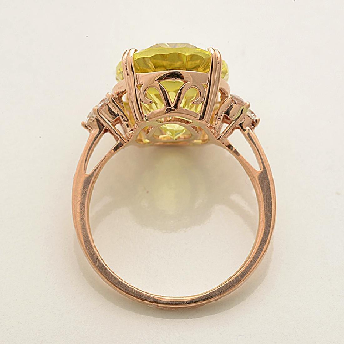 Lemon Quartz, Diamond, 14k Rose Gold Ring. - 3