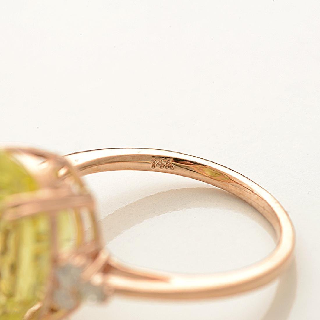 Lemon Quartz, Diamond, 14k Rose Gold Ring. - 4