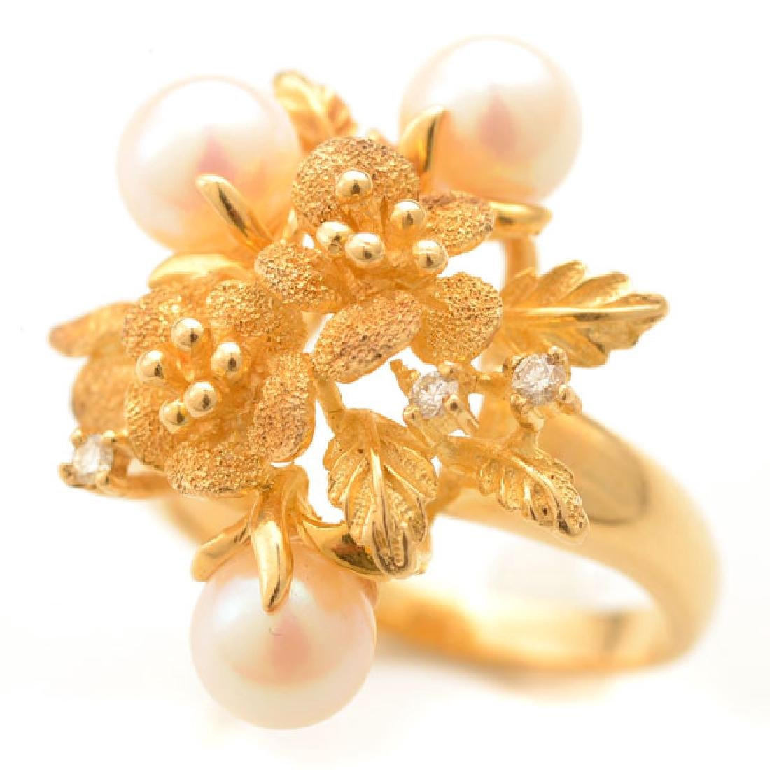 Cultured Pearl, Diamond, 14k Yellow Gold Ring.