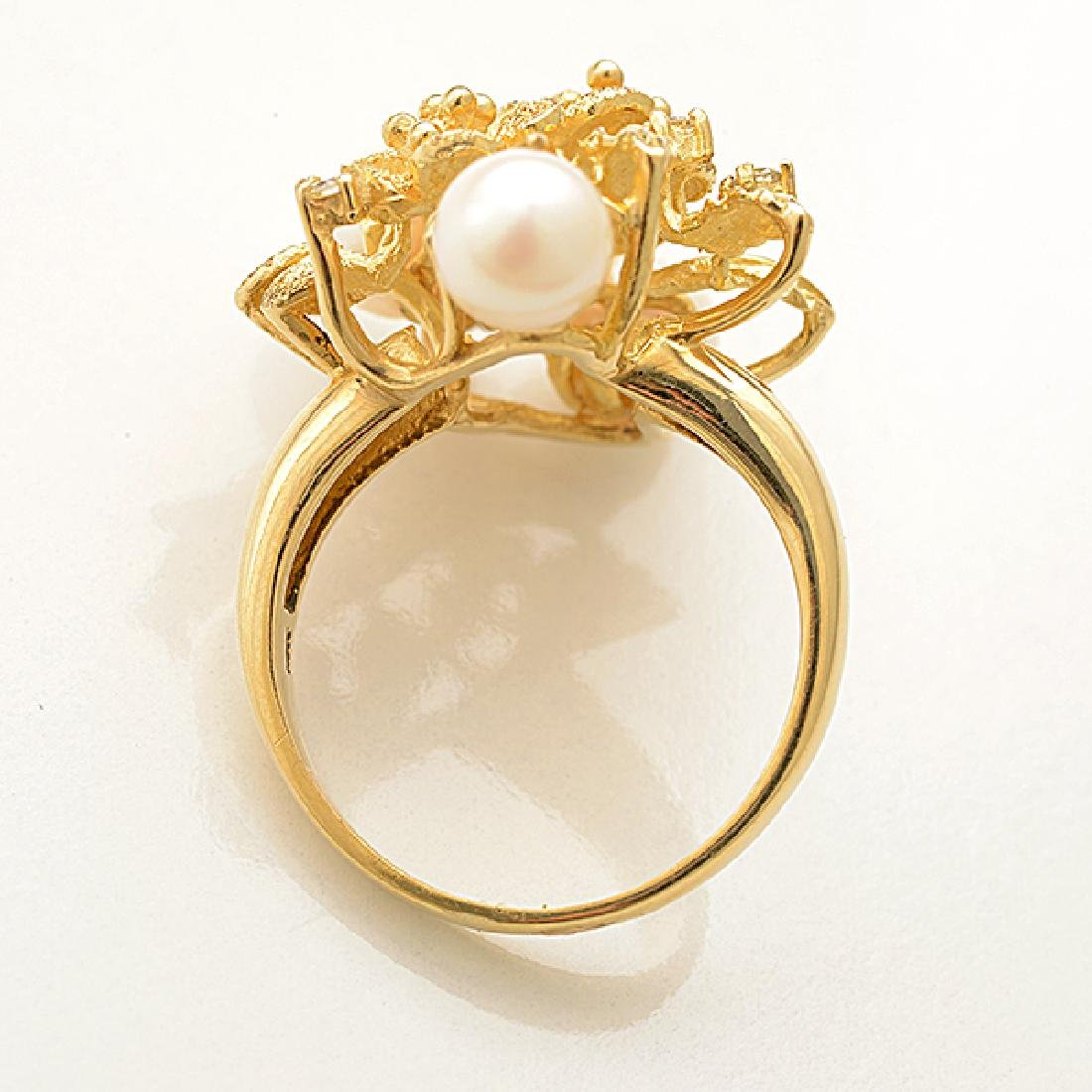 Cultured Pearl, Diamond, 14k Yellow Gold Ring. - 2