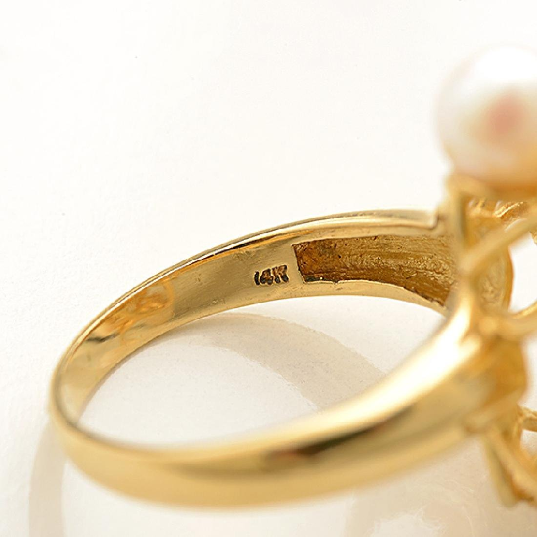 Cultured Pearl, Diamond, 14k Yellow Gold Ring. - 3
