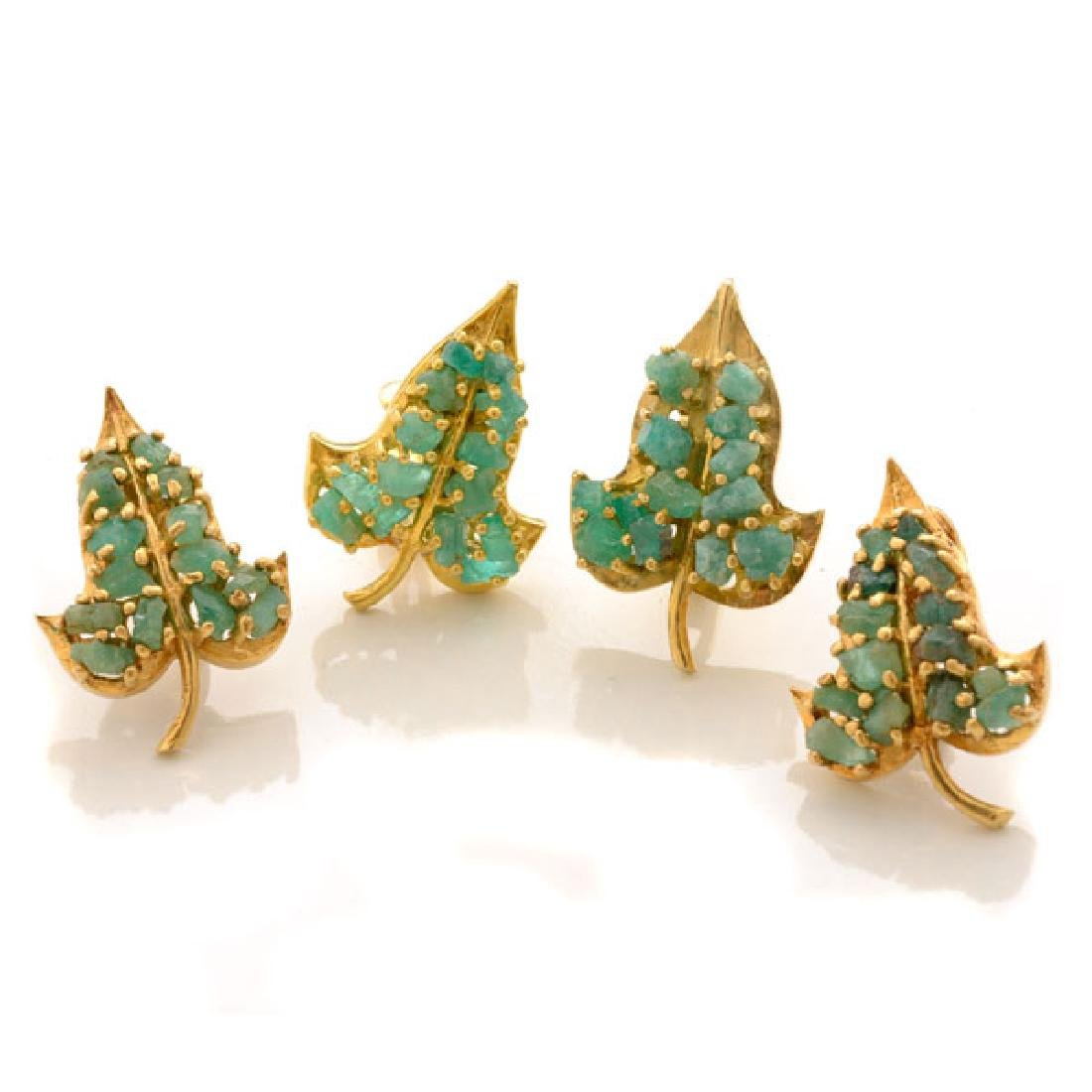 Collection of Two Pairs of Rough Emerald, 14k Yellow