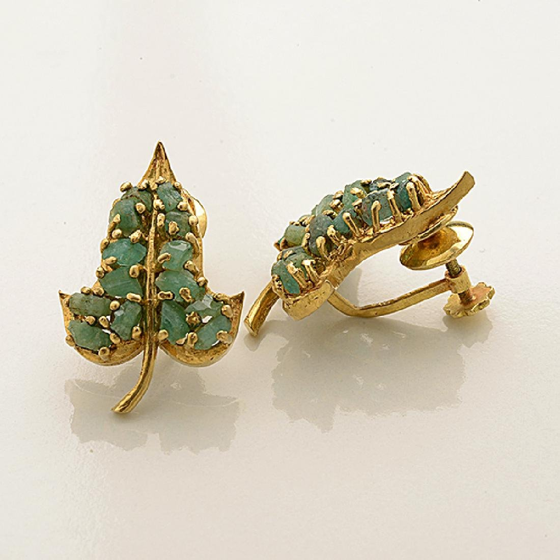 Collection of Two Pairs of Rough Emerald, 14k Yellow - 3