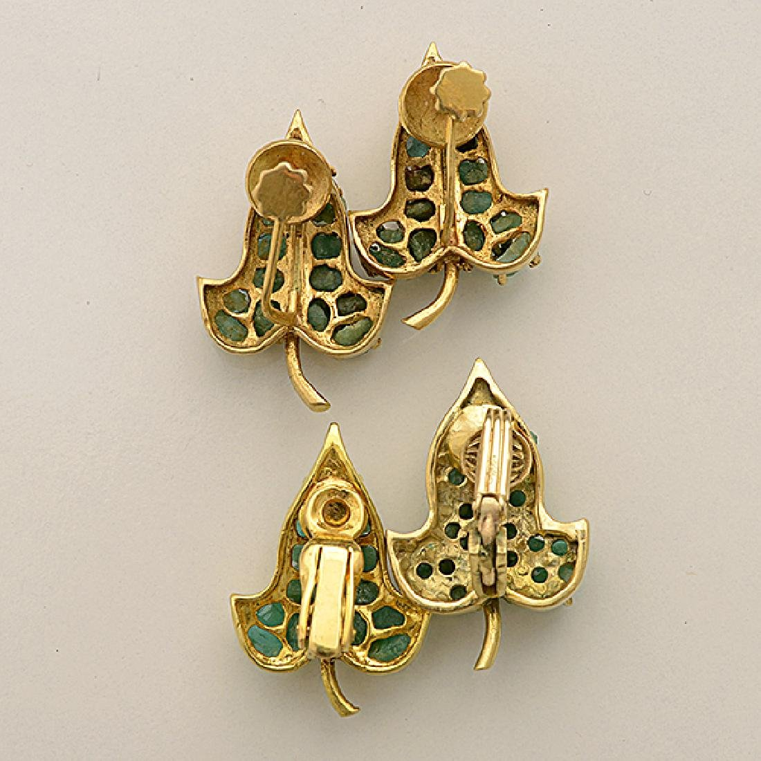 Collection of Two Pairs of Rough Emerald, 14k Yellow - 4