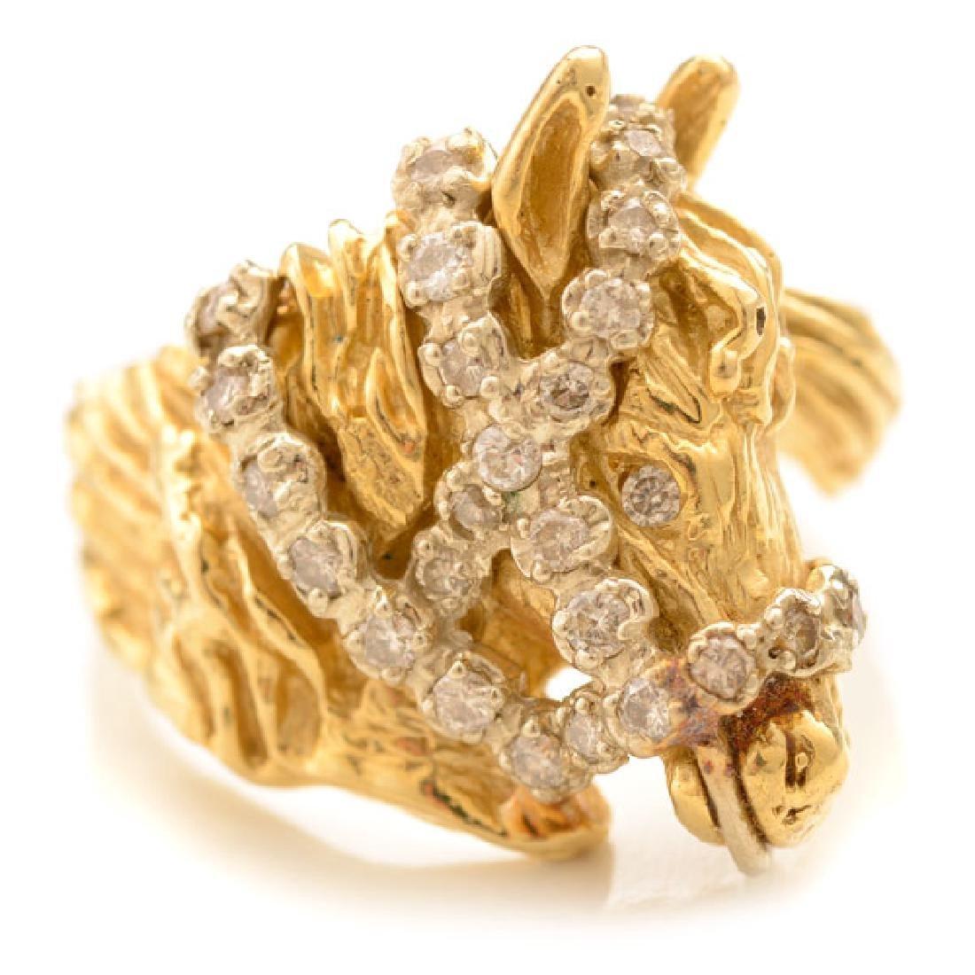 Diamond, 14k Yellow Gold Horse Ring.