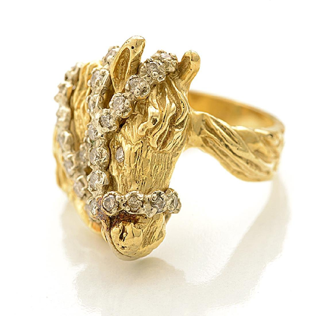 Diamond, 14k Yellow Gold Horse Ring. - 2