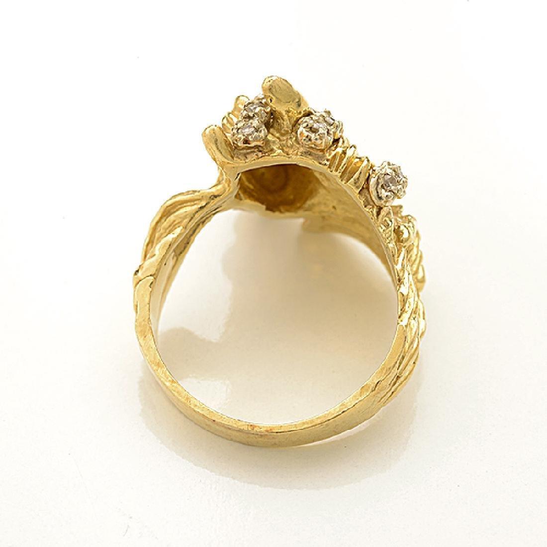 Diamond, 14k Yellow Gold Horse Ring. - 3