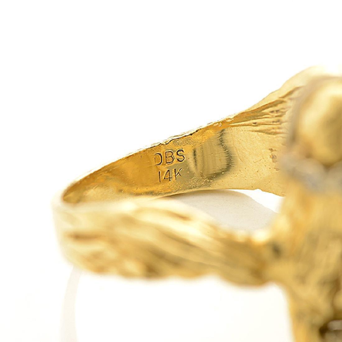 Diamond, 14k Yellow Gold Horse Ring. - 4