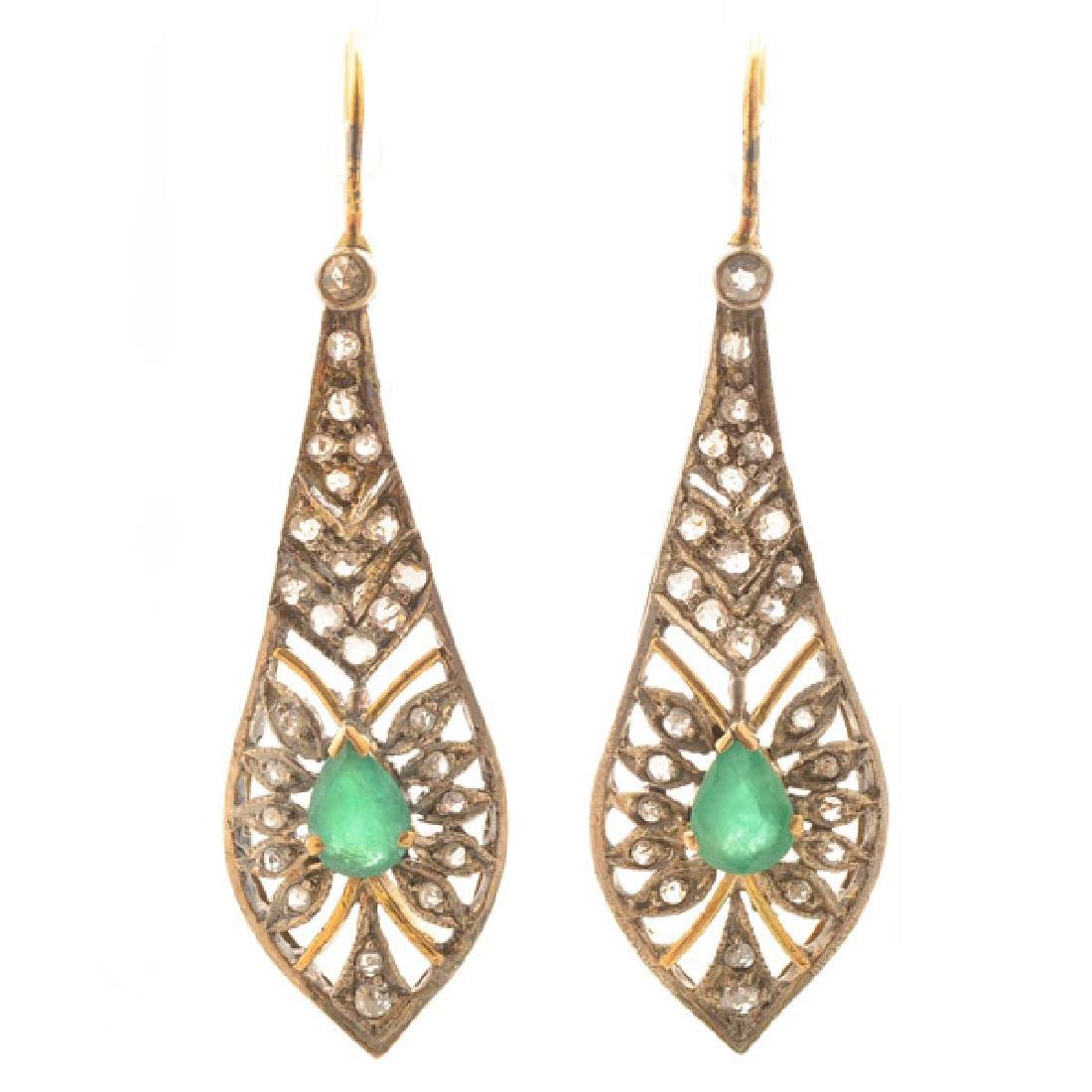 Pair of Victorian Emerald, Diamond, Silver-Topped, 14k