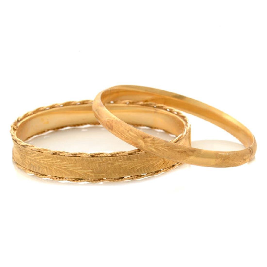 Collection of Two 14k Yellow Gold Bracelets.