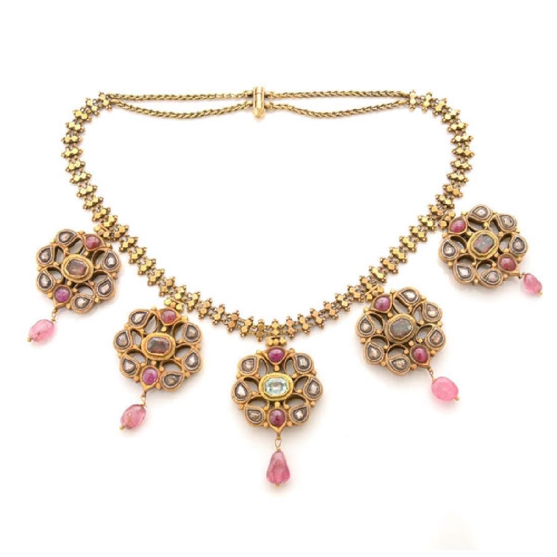 Tourmaline, Diamond, 18k Yellow Gold, Silver Necklace