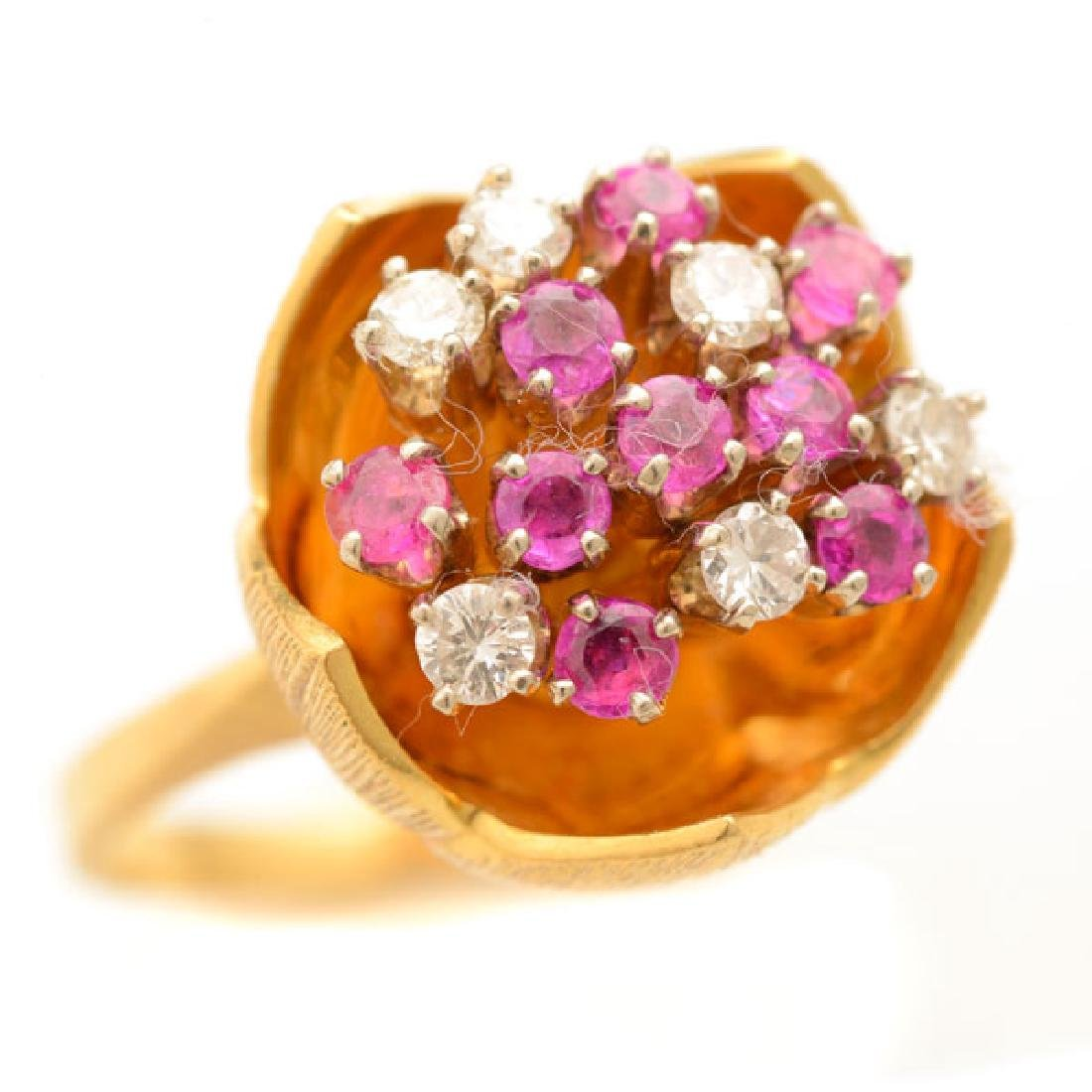 Diamond, Pink Sapphire, 18k Yellow Gold Ring.