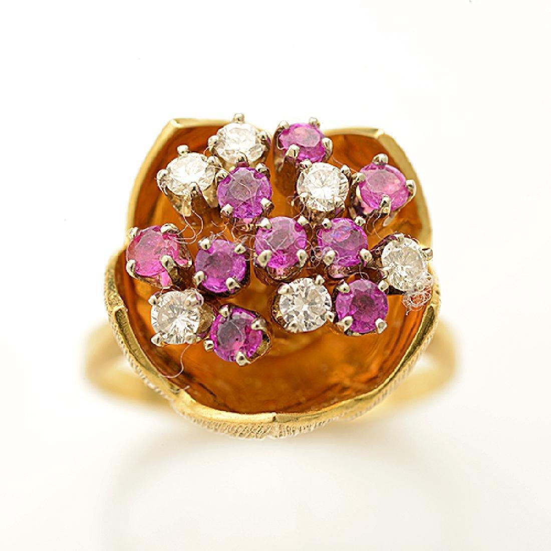 Diamond, Pink Sapphire, 18k Yellow Gold Ring. - 2