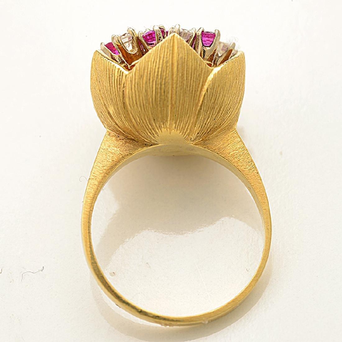 Diamond, Pink Sapphire, 18k Yellow Gold Ring. - 3