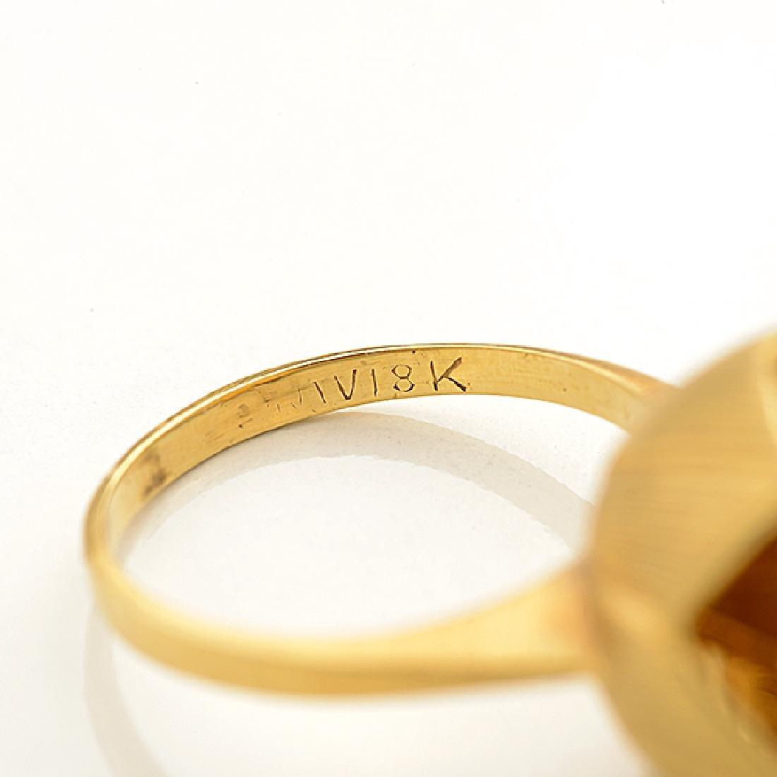 Diamond, Pink Sapphire, 18k Yellow Gold Ring. - 4
