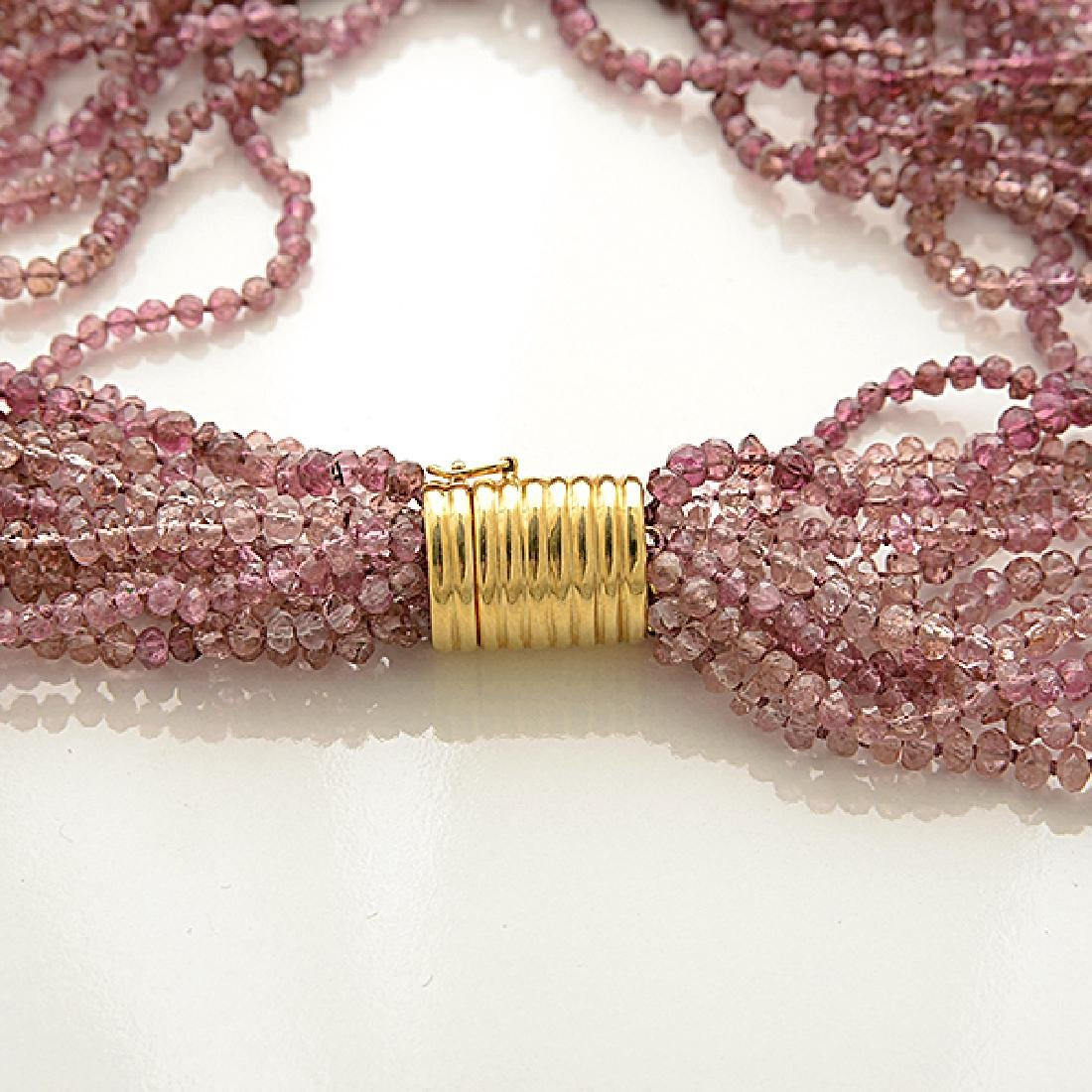 Pink Tourmaline, 18k Yellow Gold Necklace. - 2