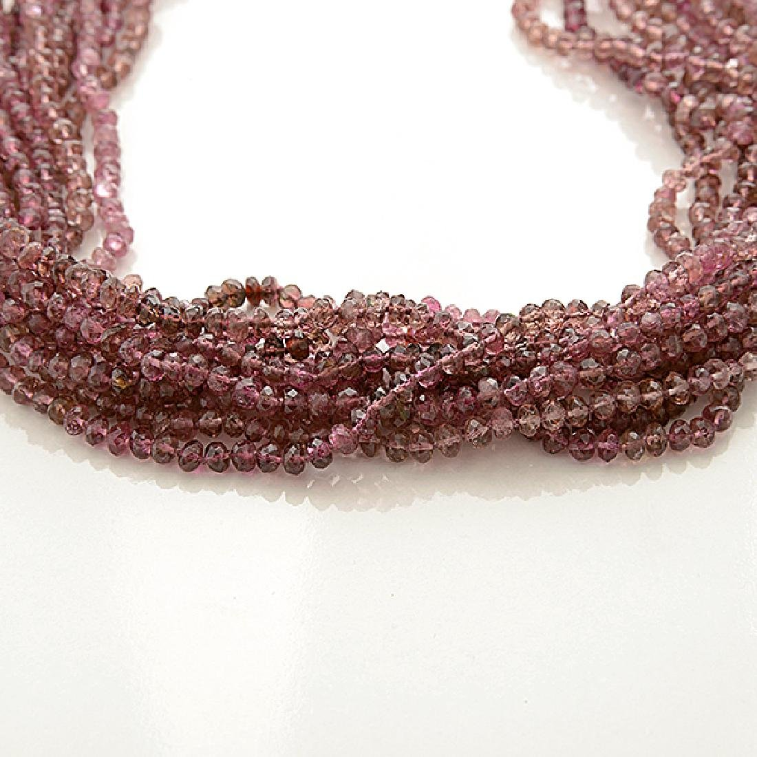Pink Tourmaline, 18k Yellow Gold Necklace. - 3