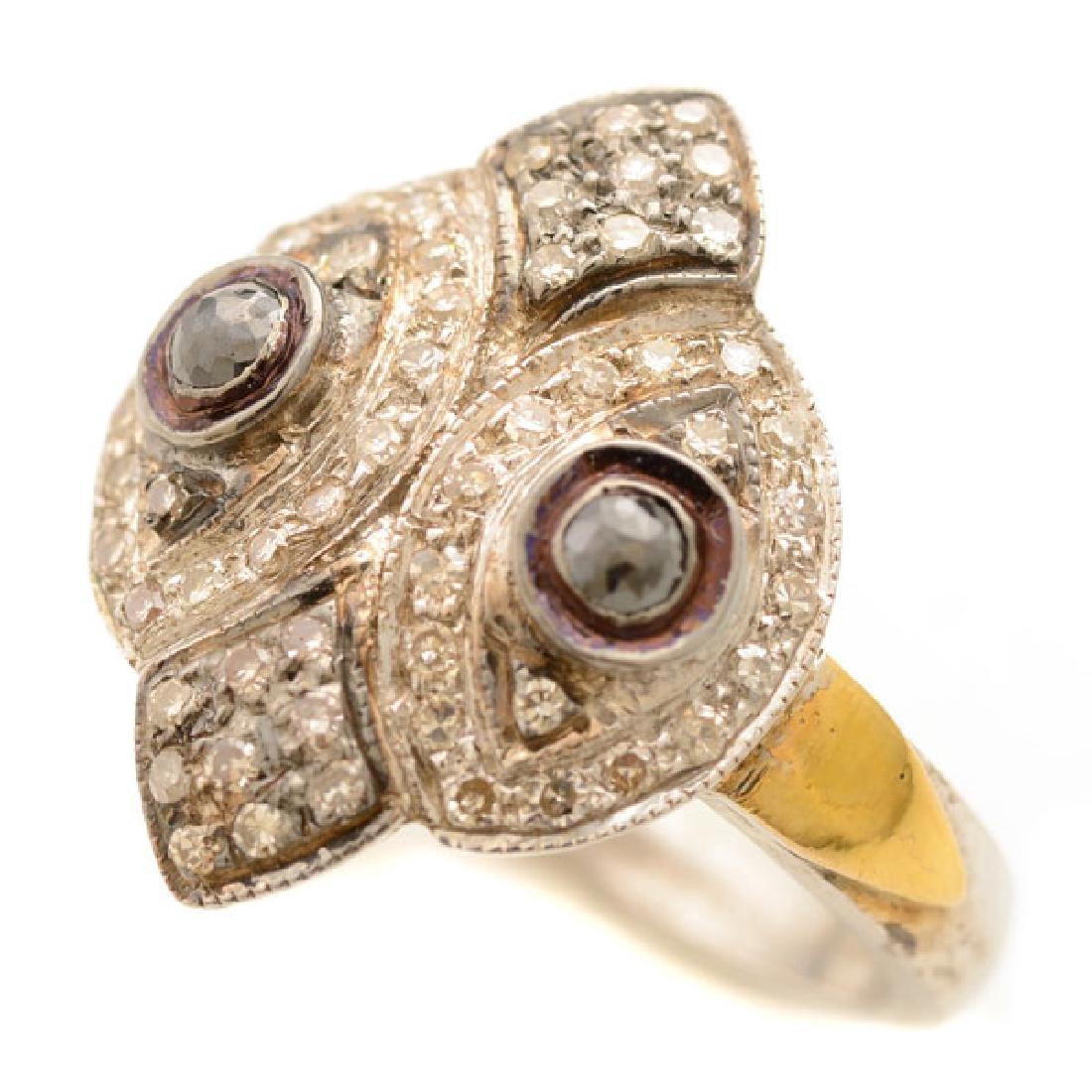 Diamond, Silver, 14k Yellow Gold Ring.