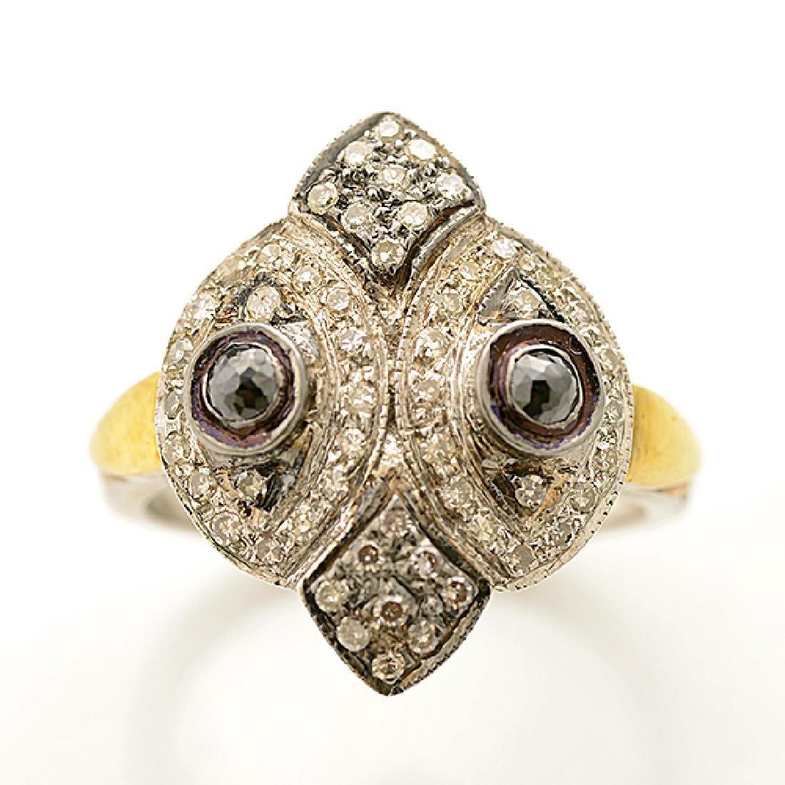 Diamond, Silver, 14k Yellow Gold Ring. - 2