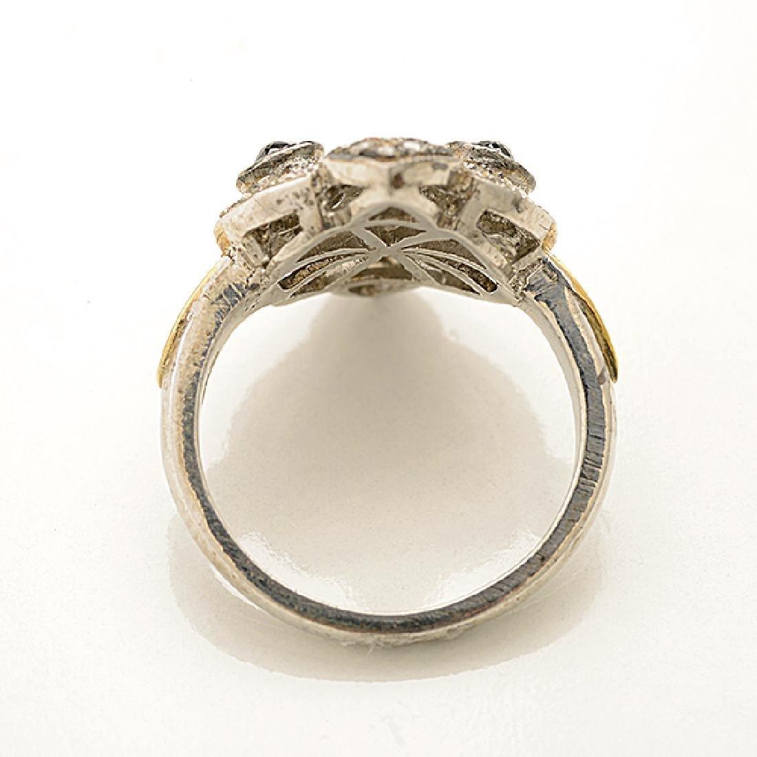Diamond, Silver, 14k Yellow Gold Ring. - 3