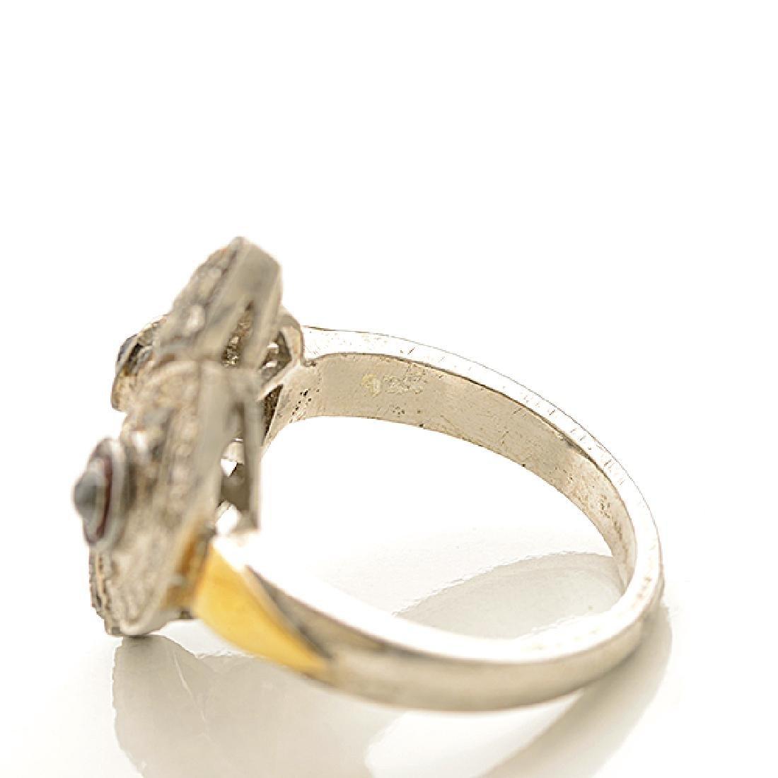 Diamond, Silver, 14k Yellow Gold Ring. - 4