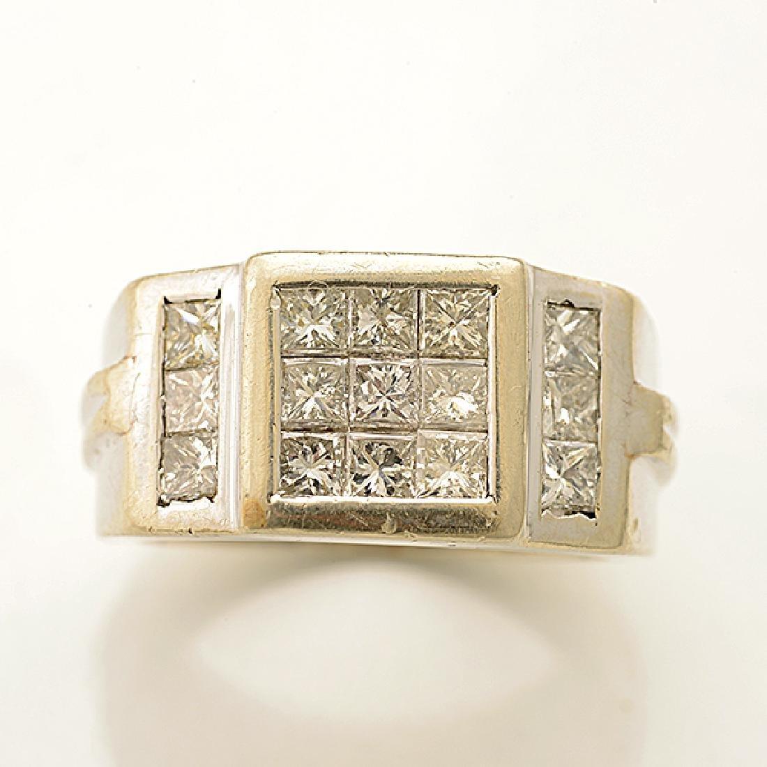 Diamond, 14k White Gold Ring. - 2