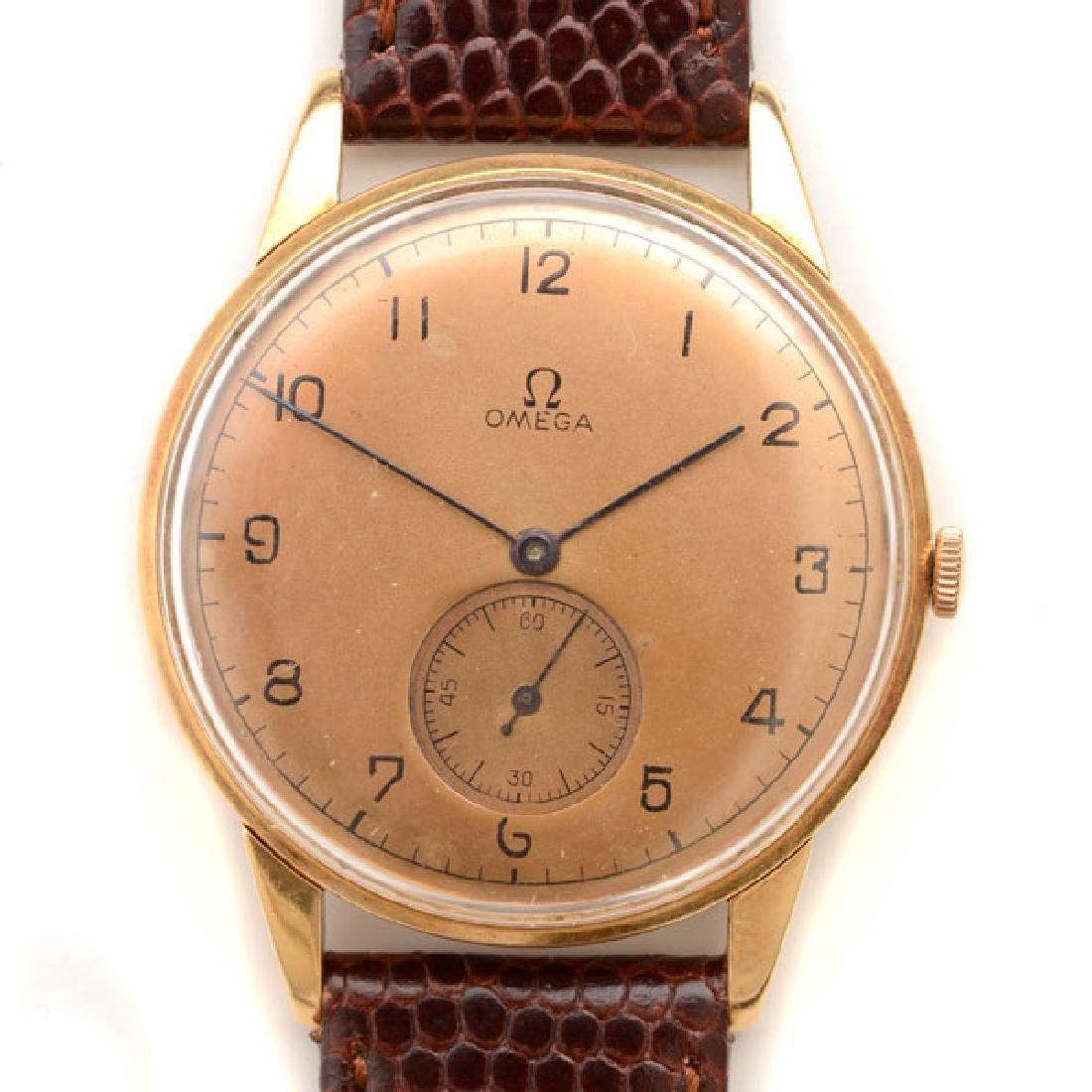 Omega 14k Yellow Gold, Leather, Metal Wristwatch.