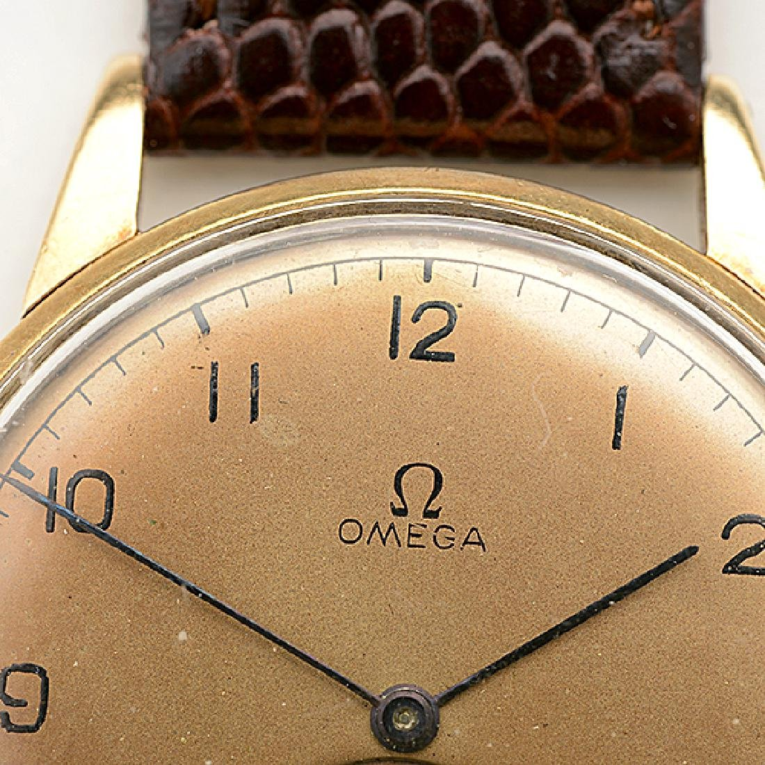 Omega 14k Yellow Gold, Leather, Metal Wristwatch. - 2