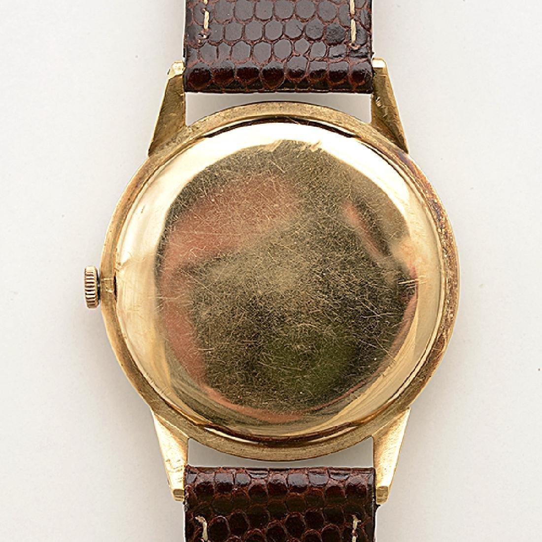 Omega 14k Yellow Gold, Leather, Metal Wristwatch. - 4