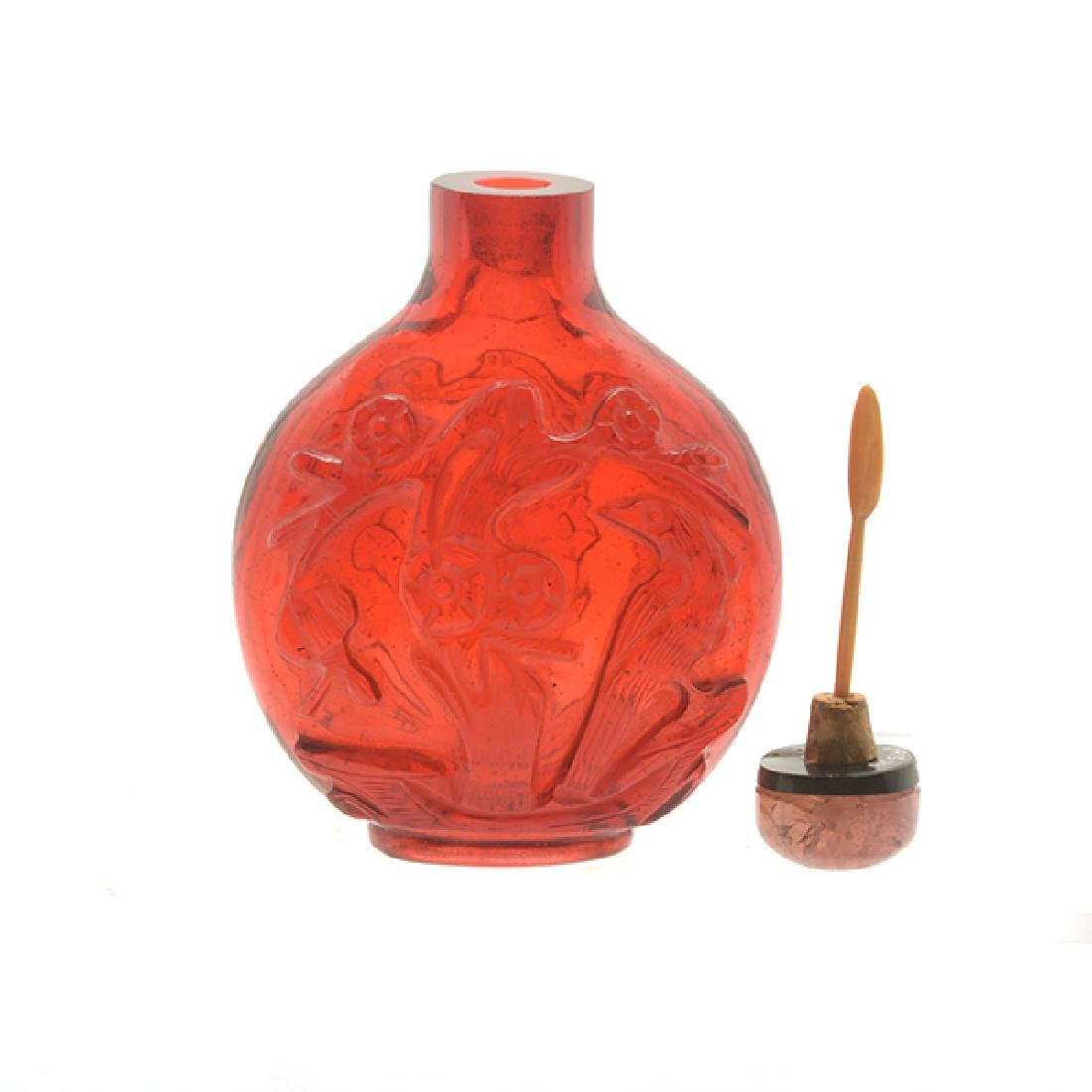 2 Monochromatic Glass Snuff Bottles, 19th C - 8
