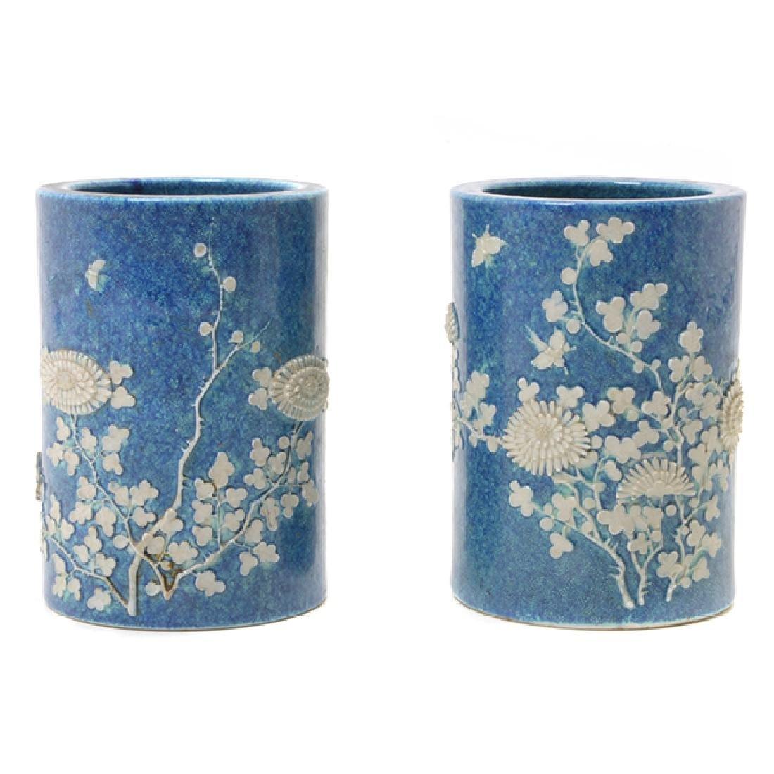 Pr of Biscuit Porcelain Brush Pots, L 19th/E 20th C