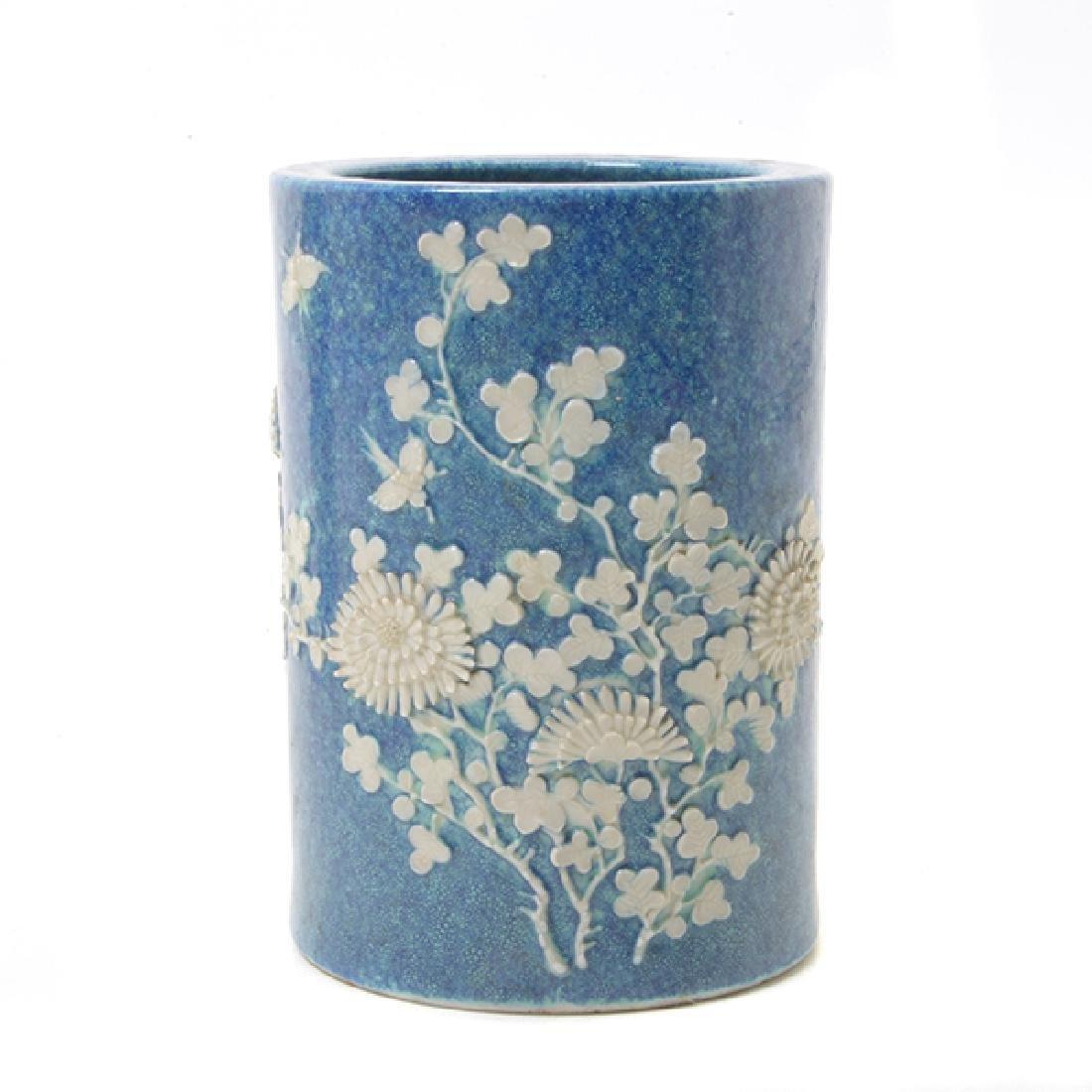Pr of Biscuit Porcelain Brush Pots, L 19th/E 20th C - 2